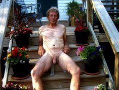 Old daddy with erect hairy shaft, nude..