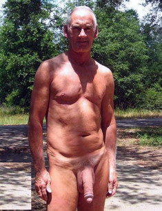 Hairy mature male posing nude on the..