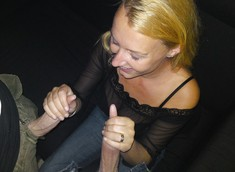 Gorgeous blonde sucks king-size black..
