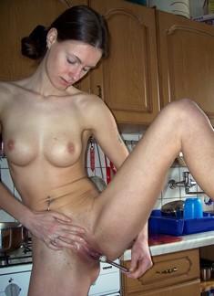 Lean housewife teasing her little twat..