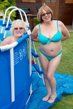 Wild grandmas having fun in the pool,..