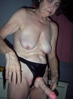 Crazy old woman with loose skin, they..