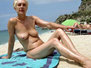 Mature nude sunbathing